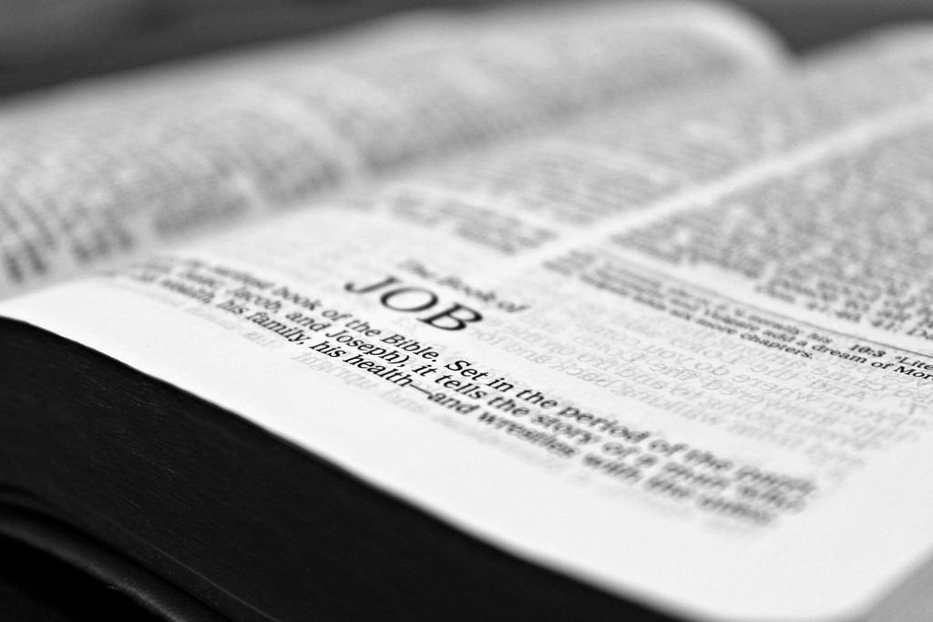 Bible open to the book of Job. You can feel better with Christian counseling in Tampa, FL at Wesley Chapel counseling clinic Sheltering Oaks. You can get online therapy in Florida here with a christian counselor!