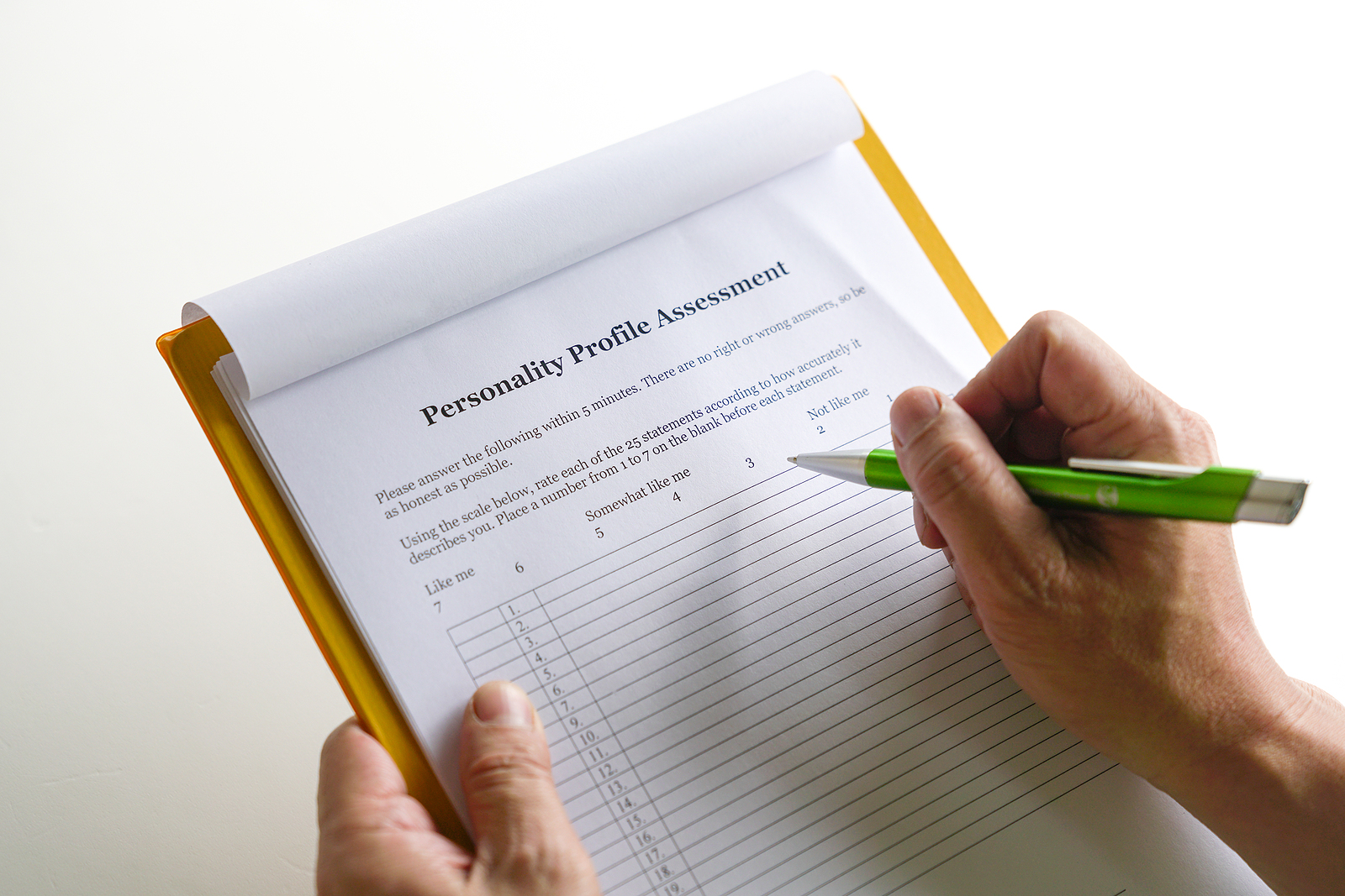 Personality test or assessment form as part of career or parent personality assessment process. You can get personality testing in tampa, fl at Sheltering Oaks. Counseling and various personality testing near Tampa, FL is available here and with online therapy in Florida.