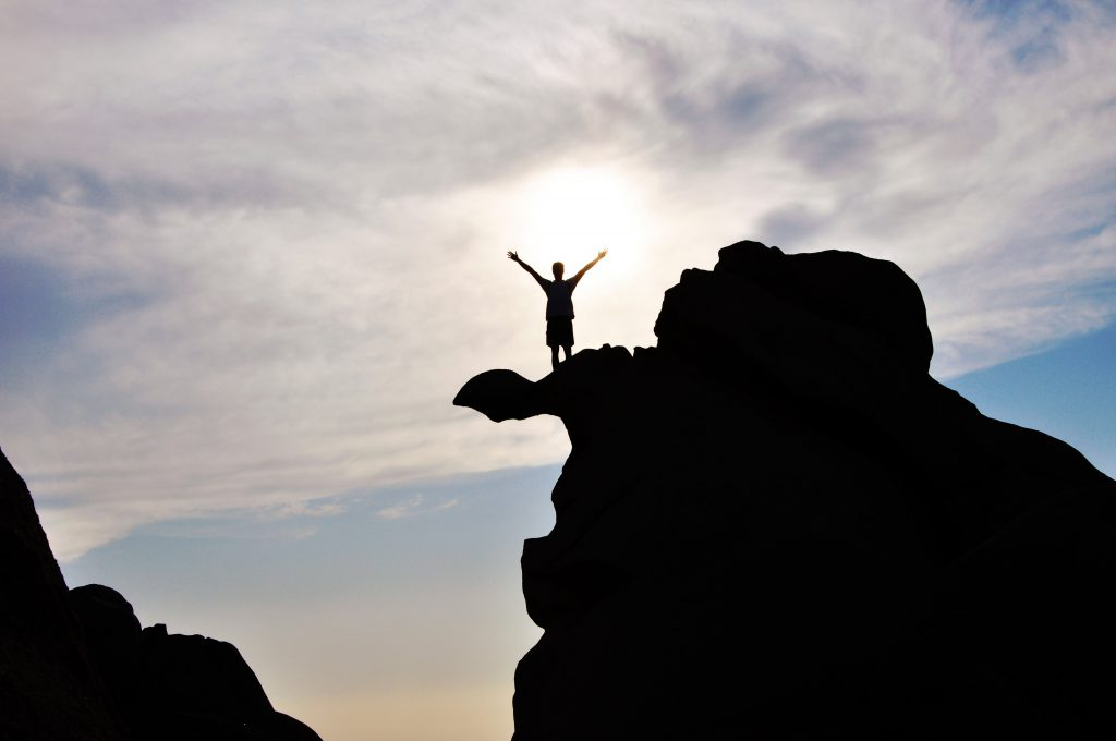 Young adult on the top of a mountain with arms in the air in triumph after young adult counseling near Tampa, FL. Sheltering oaks provides therapy for young adults in Wesley Chapel, FL. You can get help with online therapy in Florida for millennials here!