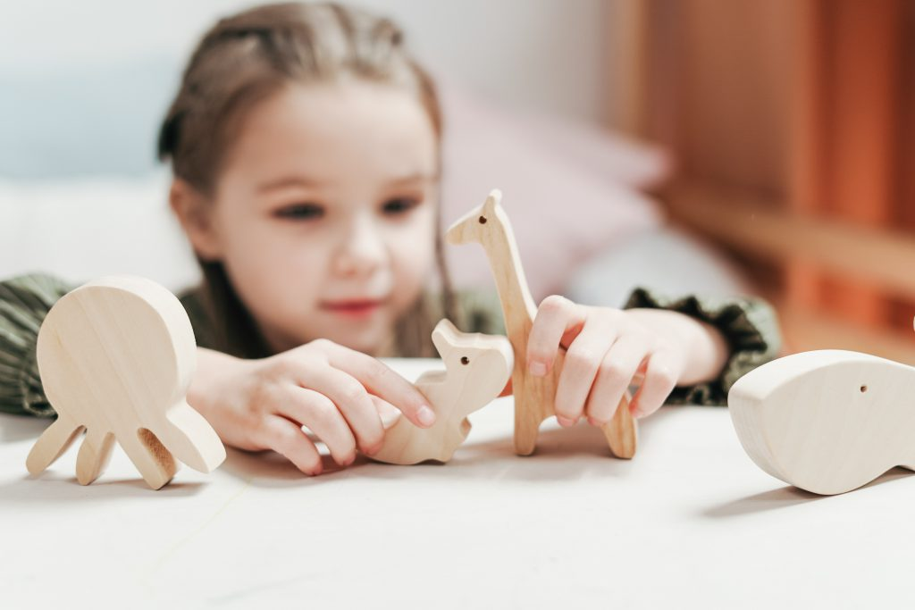Young girl playing with wooden animals during play therapy near Tampa, FL. You can meet with a play therapist at Sheltering Oaks Counseling for play therapy in Wesley Chapel, FL via online therapy in Florida too!